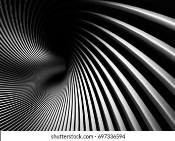Dark Metallic Twist Spiral Tunnel Background. 3d Render Illustration