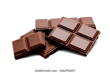 Dark milk chocolate bars stack isolated on a white background