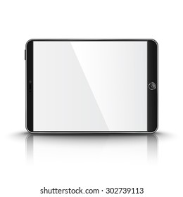 Dark modern tablet computer with blank screen isolated on white background with reflection and place for your design and branding.