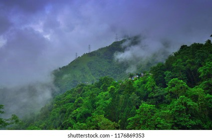 Dark monsoon clouds over a forest.