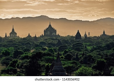 Dark moody sunset with ancient temples in Bagan, Myanmar (Burma)