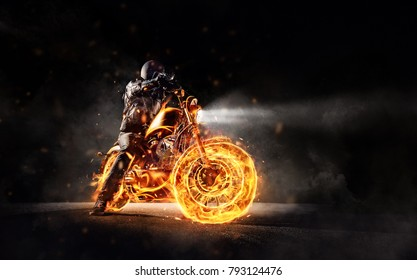 Dark motorbiker staying on burning motorcycle, separated on black background. Dark art wallpaper photo of chopper motorbike. Very high resolution image