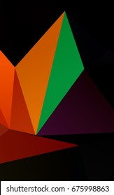 Dark Multicolor, Rainbow low poly background. Colorful illustration in abstract style with gradient. The textured pattern can be used for background.