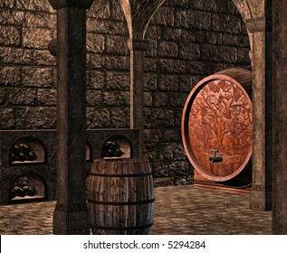 A dark and musty wine cellar full of casks, barrels and bottles of wine.