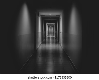 Dark mysterious corridor in building. Door room perspective in lonely quiet building with light on black and white style. horror landscape concept.