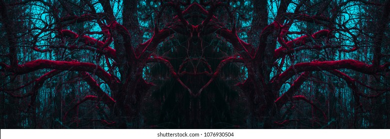 Dark mysterious forest. Stranger winding branches of trees in the mist. Background mystic atmosphere