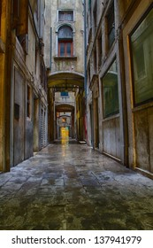 Dark and narrow street in Venice