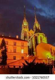 Dark night around church Petrov in Brno