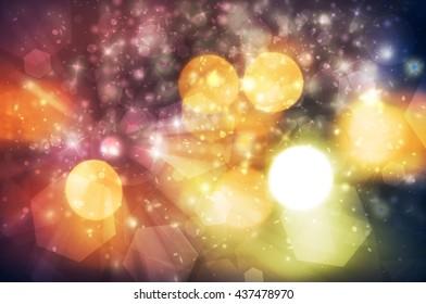 Dark Night color sparkles rays lights  glitter bokeh Festive Elegant abstract background.Vintage or retro tone.