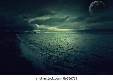 dark night landscape