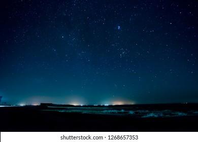 Dark Night Starry Sky and the horizon