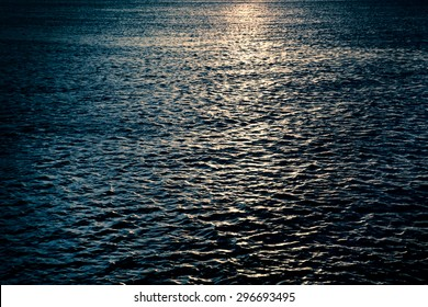 Dark ocean with moonlight