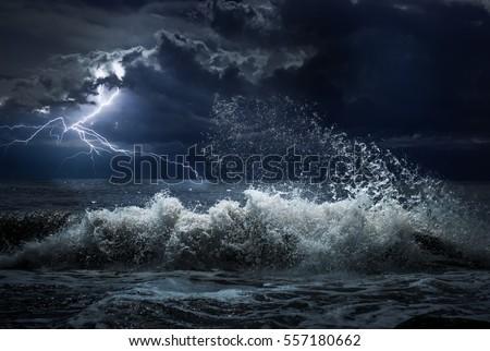 dark ocean storm lgihting waves night stock photo edit now