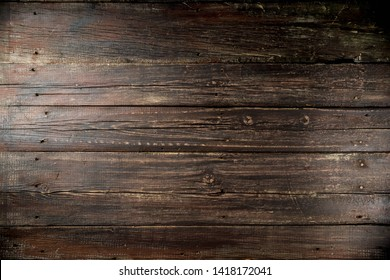 Dark old rustic wooden background, copy space top view