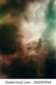 Dark old spooky tower and crooked tree branches at foggy night, photo manipulation.