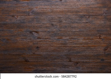 Dark old wooden planks table texture background top view
