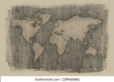 Dark old world map on vintage textured background with faded edges