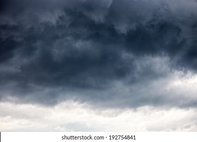 Dark ominous grey storm clouds - dramatic sky