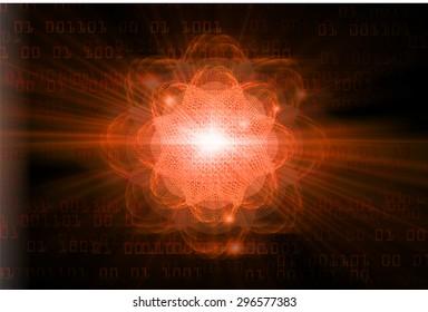 dark orange color Light Abstract Technology background for computer graphic website internet.circuit. illustration.Nuclear,proton,neutron,nucleus. atom. molecular.Spark ray beam aura. one zero