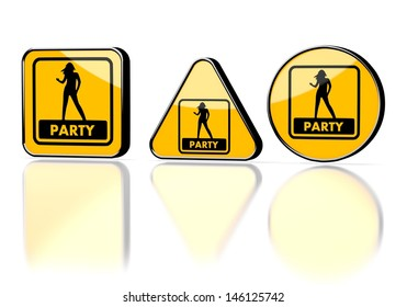 Dark orange  isolated signal 3d graphic with isolated party symbol on three warning signs