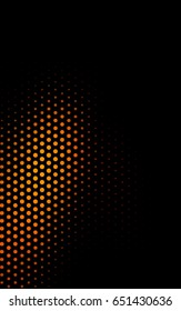 Dark Orange red banner with set of circles, dots. Donuts Background. Creative Design Template. Technological halftone illustration.