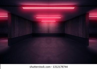dark  parking deck with neon  light , underground basement
