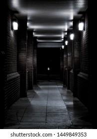 Dark passage in Barbican, London