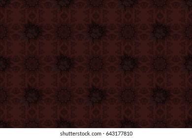 Dark pattern on brown background with dark elements. Damask classic white and dark pattern. Raster abstract background with repeating elements.