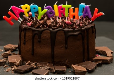 Birthday Cake Candles Forming Sentence Happy Stock Photo Edit Now