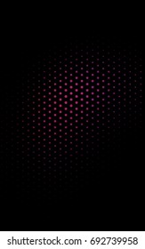 Dark Pink banner with circles, spheres. Abstract spots. Background of Art bubbles in halftone style with colored gradient.