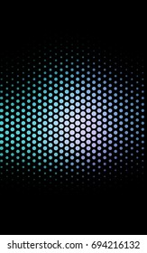 Dark Pink, Blue banner with circles, spheres. Abstract spots. Background of Art bubbles in halftone style with colored gradient.