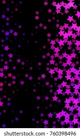 Dark Pink, Blue vertical cover with small and big stars. Shining colored illustration with stars. The template can be used as a background.