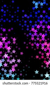 Dark Pink, Blue vertical template with sky stars. Shining colored illustration with stars. The pattern can be used for wrapping gifts.