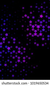 Dark Pink, Blue vertical texture with beautiful stars. Shining colored illustration with stars. The pattern can be used for new year ad, booklets.