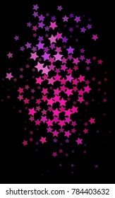 Dark Pink, Blue vertical texture with beautiful stars. Stars on blurred abstract background with gradient. The pattern can be used for wrapping gifts.