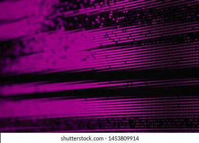 Dark pink Glitch Matrix Burned effect RGB LED Pixel Pitch - Color Mixing LEDS. Perspective view SMD Technology Screen Display