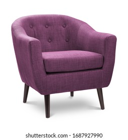 Dunkelrosa rosa rosa violetter violetter Farbsessel. Moderner Designerstuhl auf weißem Hintergrund. Textilstuhl.