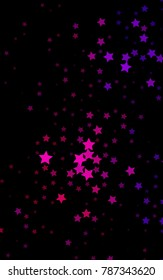 Dark Pink vertical texture with beautiful stars. Glitter abstract illustration with colored stars. The pattern can be used for wrapping gifts.