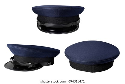 Dark Police cap without badge isolated on white with clipping pa