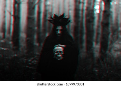 dark portrait of a witch girl in a black costume. Black and white with 3D glitch virtual reality effect