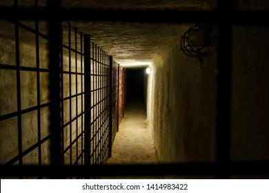 The dark prison corridor leads to the prison firing yard of the most dreadful prison in Russia