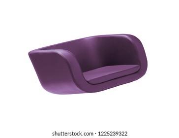Dark purple armchair isolated on white