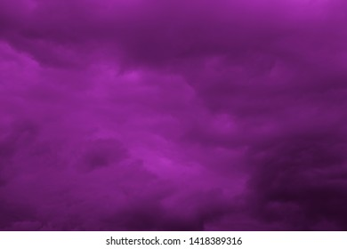 Dark purple clouds at sunset. Nature of North Asia