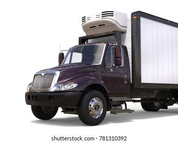 Dark purple refrigerator truck - closeup cut shot - 3D Illustration
