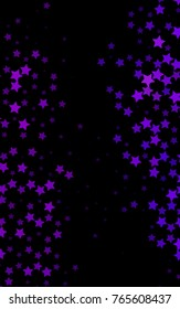 Dark Purple vertical background with colored stars. Stars on blurred abstract background with gradient. The pattern can be used for new year ad, booklets.