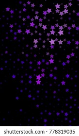 Dark Purple vertical texture with beautiful stars. Glitter abstract illustration with colored stars. Smart design for your business advert.