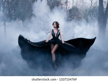The dark queen, with bare long legs, walks fog. A luxurious black dress flares in different directions, like the wings of a raven. Elegant hairstyle with a gothic crown. Artistic photo