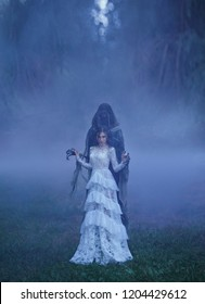 dark Queen with neat hairdo in a white vintage dress with a dementor, standing in a forest full of thick purple fog. A powerful witch summoned the power of darkness. Devil's bride. Art photo