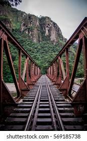 Dark railway, central perspective