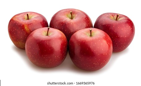 dark red apples path isolated on white